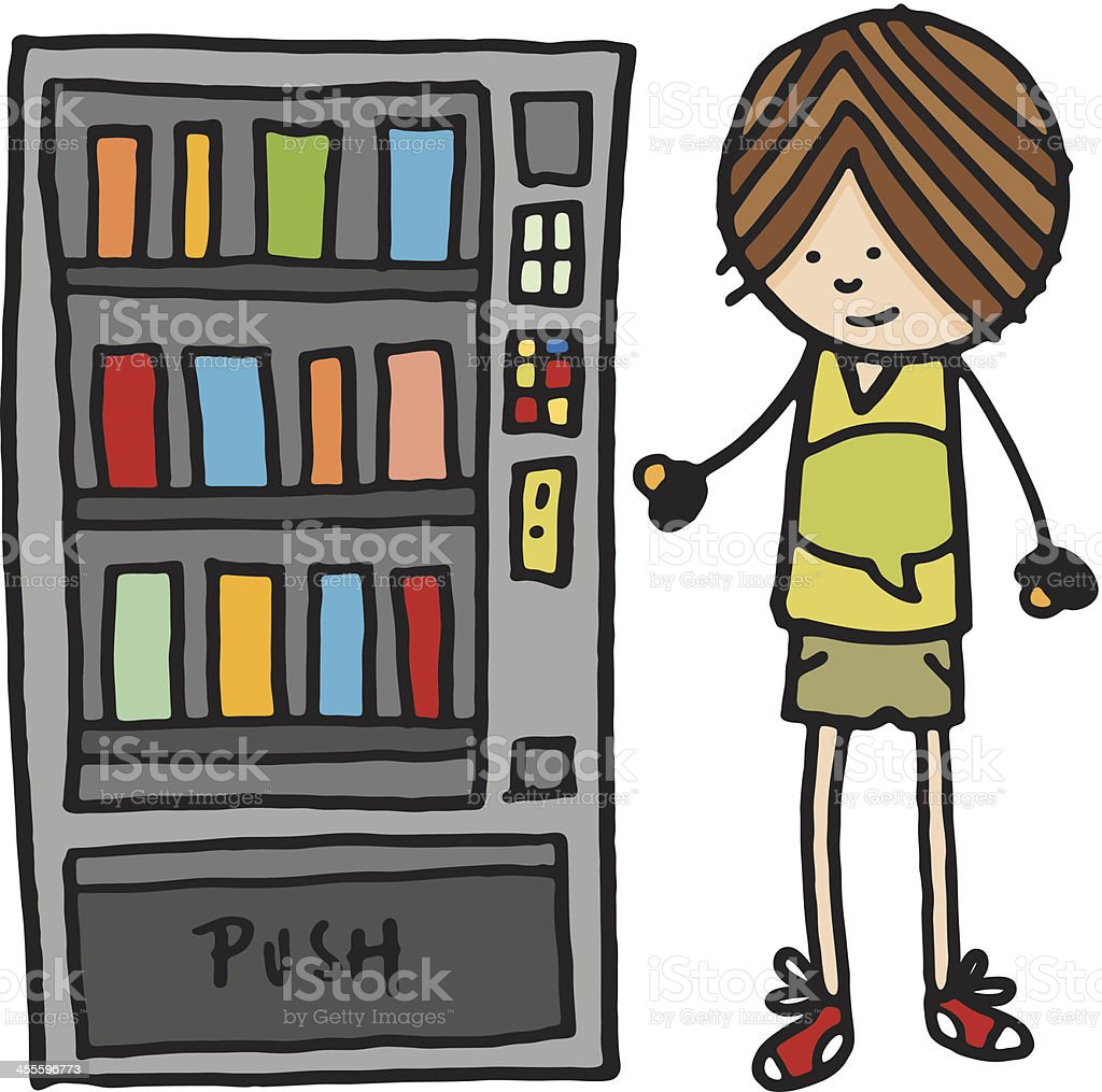 Boy stood next to vending machine royalty-free boy stood next to vending machine stock vector art & more images of boys