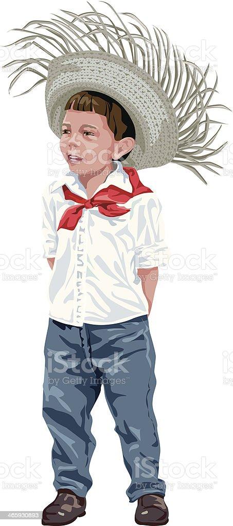 Boy Straw Hat C vector art illustration