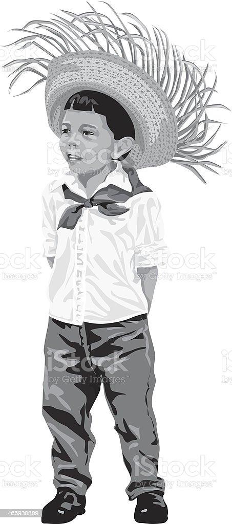Boy Straw Hat vector art illustration