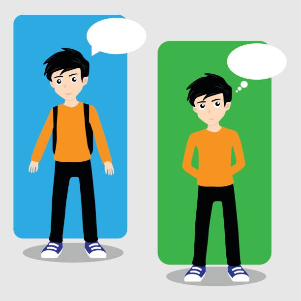Boy Student Characters vector art illustration