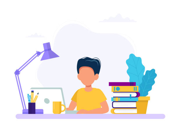 Boy studying with computer and books. Back to school, online education concept vector illustration in flat style vector art illustration
