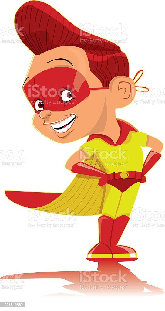 Chico súper héroe - ilustración de arte vectorial