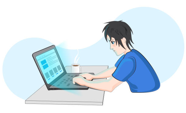Boy surfing the Web vector art illustration