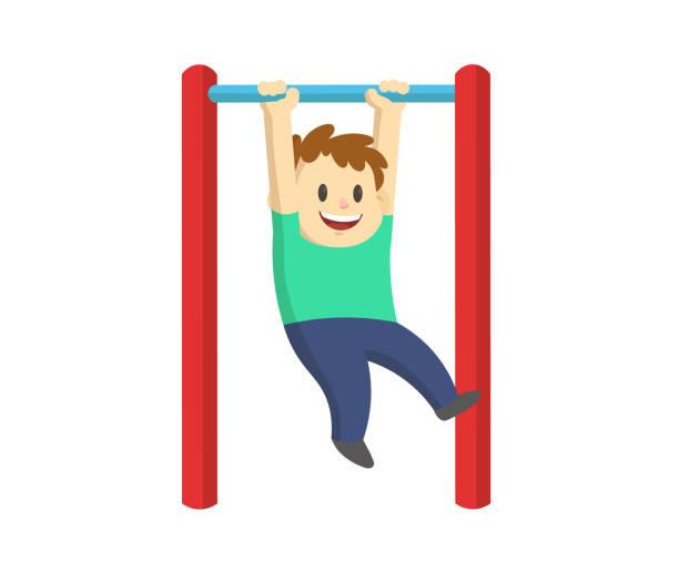 bildbanksillustrationer, clip art samt tecknat material och ikoner med pojke vajande på horisontell bar. dra upp barn street workout, barn fitness. tecknad platt vektor illustration, isolerad på vit bakgrund. - gym skratt
