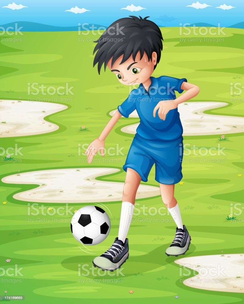 boy sweating while playing football royalty-free stock vector art