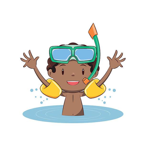 ilustrações de stock, clip art, desenhos animados e ícones de boy swim, inflatable armbands - swim arms