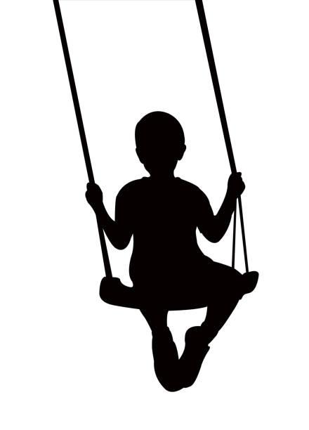 ilustrações de stock, clip art, desenhos animados e ícones de boy swinging silhouette vector - balouço