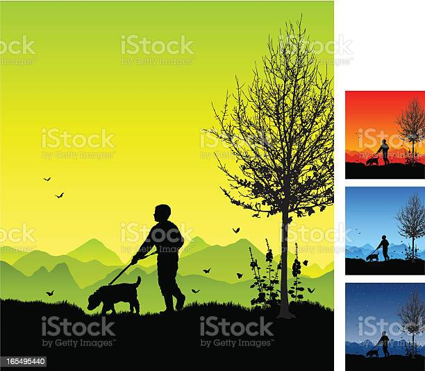 Boy taking dog for a walk in silhouette vector id165495440?b=1&k=6&m=165495440&s=612x612&h=xtonrrigjbpaao698 6eez0 b 4qkrzeyy5rlzf8uvo=