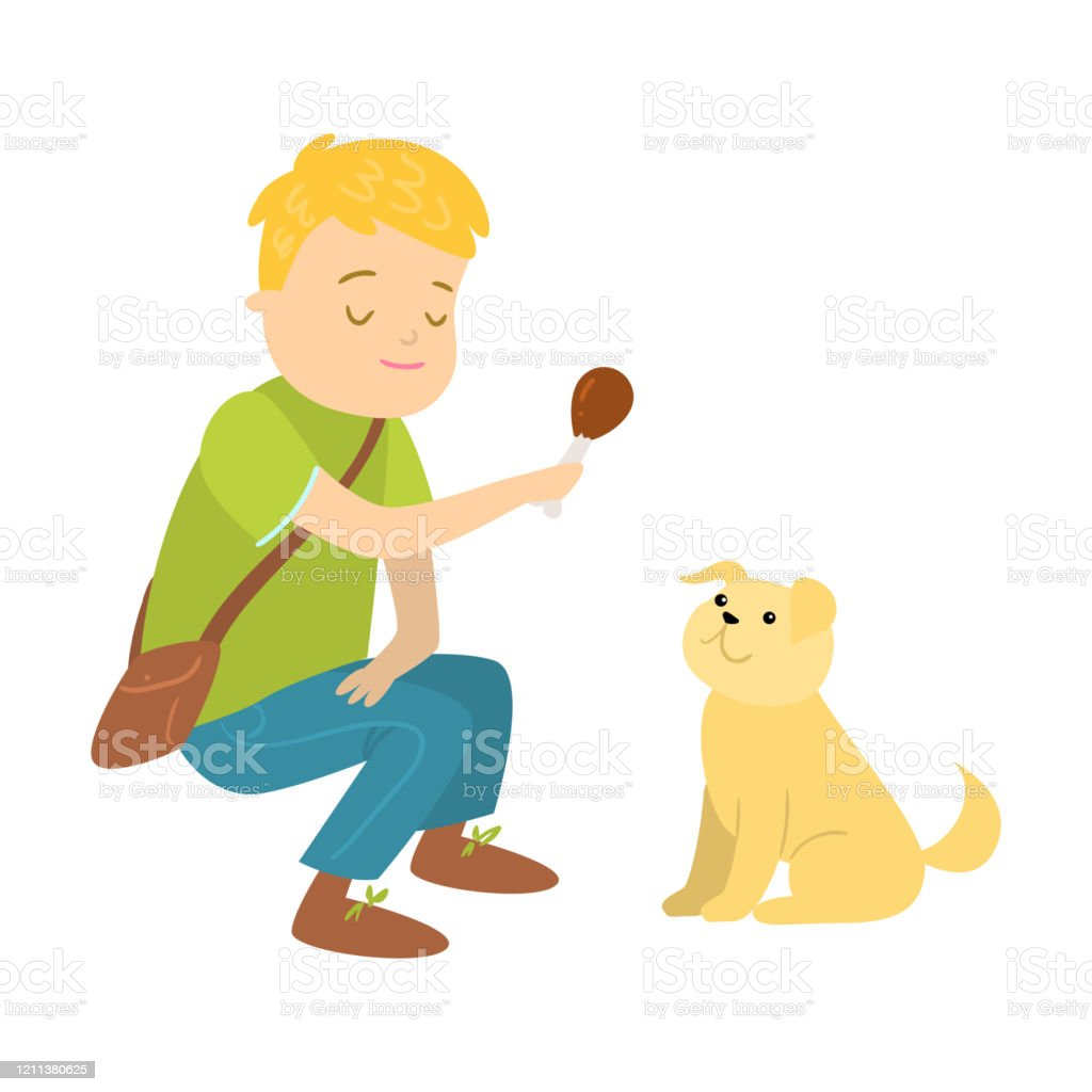 Boy Teasing His Puppy Dog Pet With Bone Vector Illustration Stock