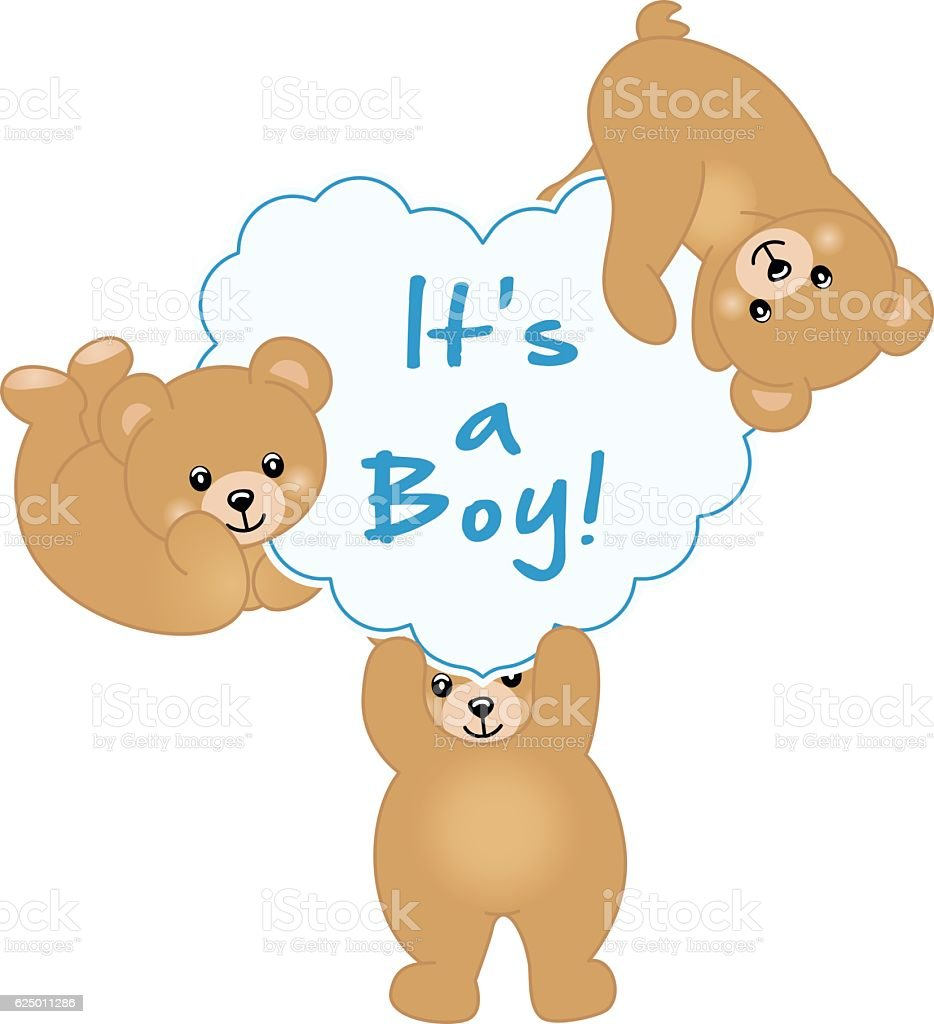 Boy Teddy Bear Baby Shower Stock Vector Art More Images Of Animal