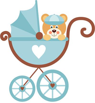 Boy teddy bear on baby carriage