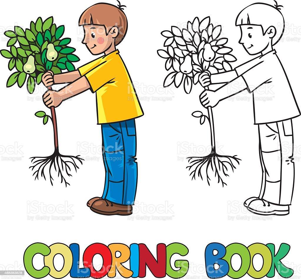 Ragazzo Il Giardiniere Con Un Albero Libro Da Colorare Immagini
