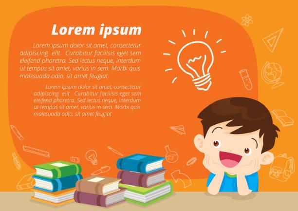 ilustraciones, imágenes clip art, dibujos animados e iconos de stock de idea de pensamiento de niño - clase de matemática