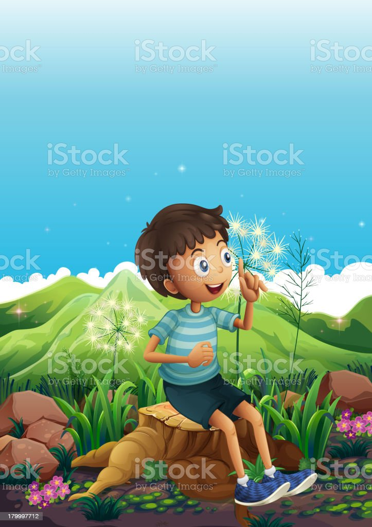 Boy thinking while sitting above a stump royalty-free stock vector art