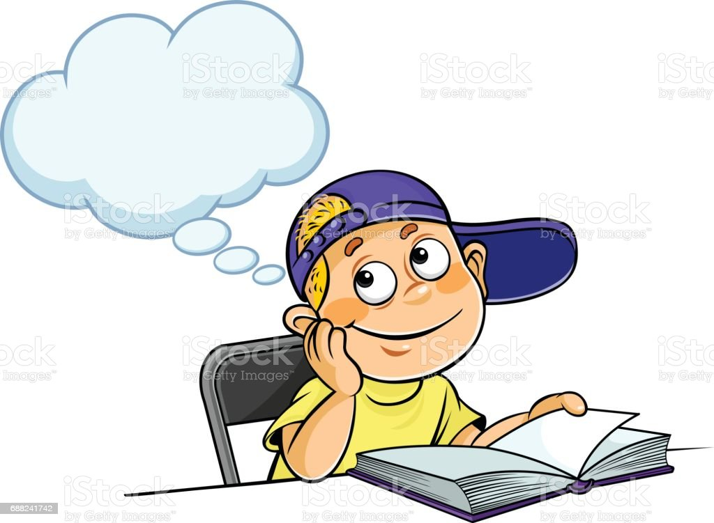 boy thinking with a book stock vector art more images of blue rh istockphoto com