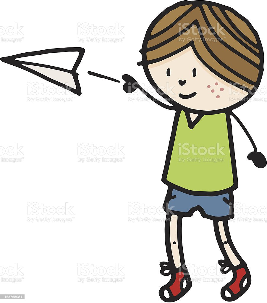 Boy throwing a paper plane royalty-free stock vector art