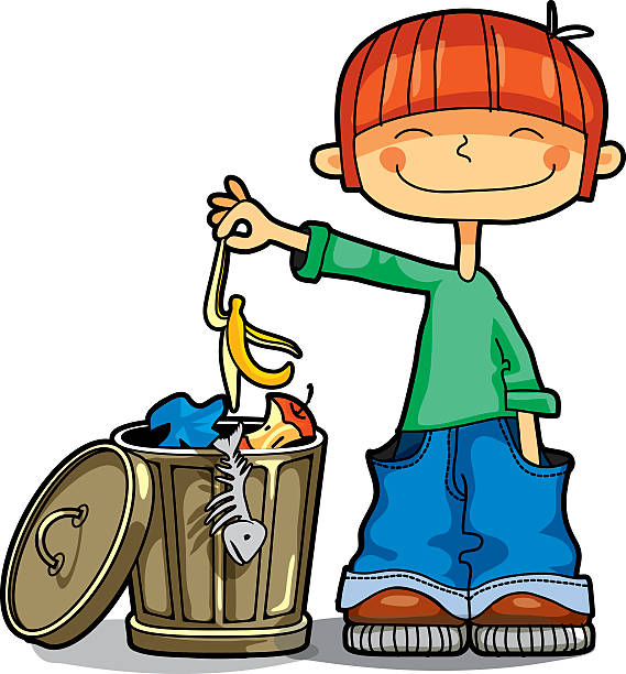 boy throws banana's peel in the trash - child throwing garbage stock illustrations, clip art, cartoons, & icons
