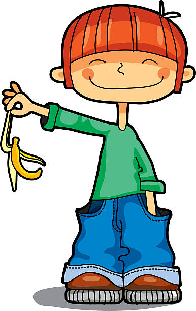 boy throws banana's peel - child throwing garbage stock illustrations, clip art, cartoons, & icons