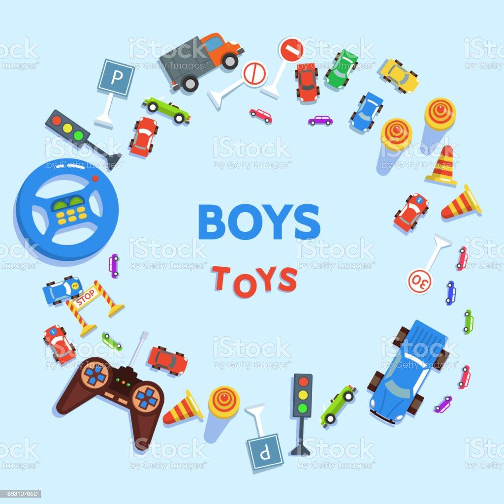 Jungen-Spielzeug-Autos und Verkehrszeichen – Vektorgrafik