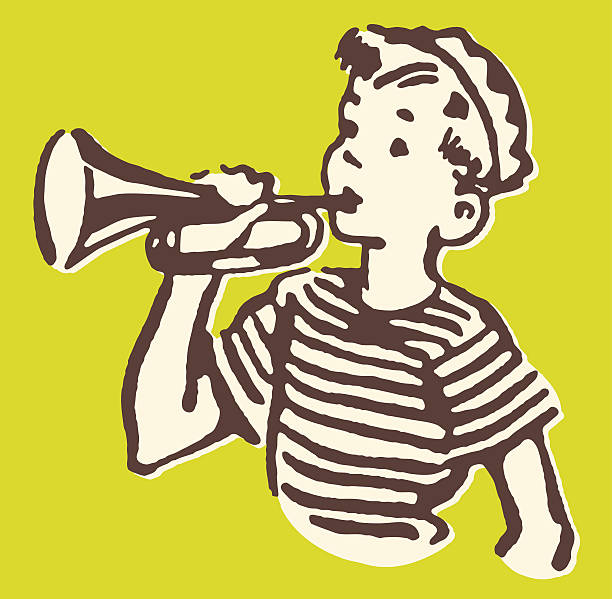 Boy Trumpeter vector art illustration