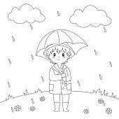 Boy Under The Rain Coloring Page Vector Design