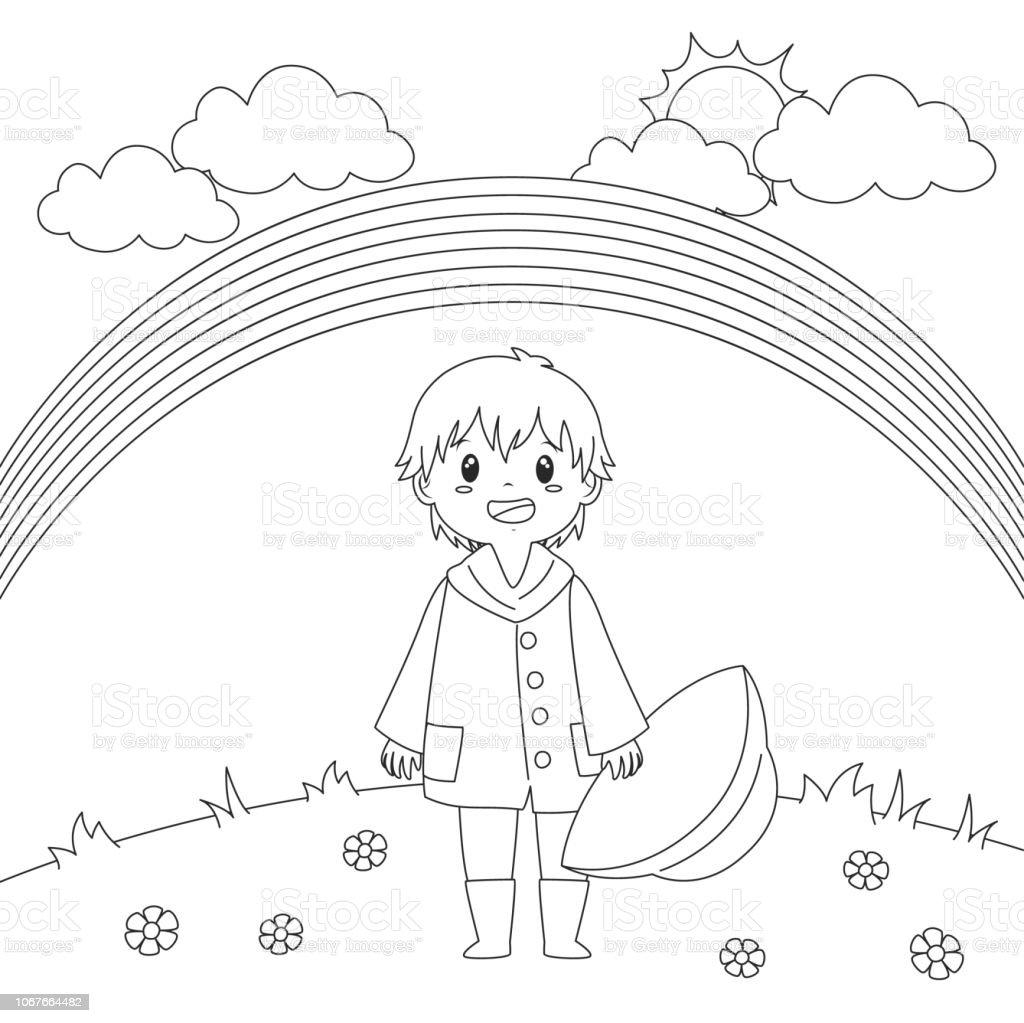 Ilustración De Niño Bajo El Arco Iris Para Colorear Página