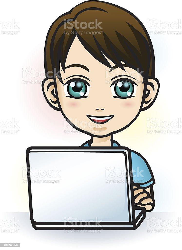 Boy using computer royalty-free stock vector art
