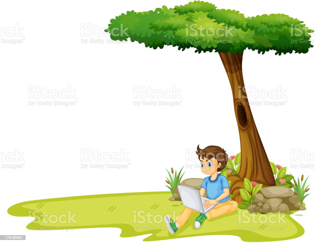 boy using his laptop under a tree royalty-free stock vector art