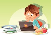 Illustration of a boy using a laptop. Beside him on the table are books, a glass of milk and a plate with a sandwich and an apple on it. Concept for children and computers, children and healthy food,...