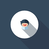 The vector file of young boy icon with long shadow.