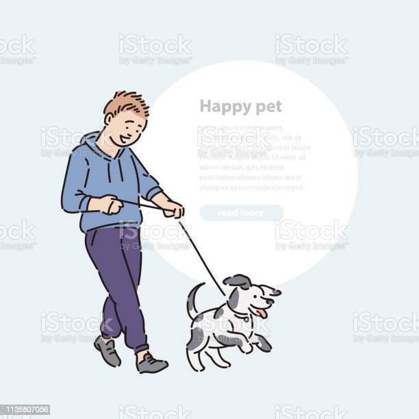 Boy walk dog puppy on leash promenade with pet vector line art and vector id1135807056?b=1&k=6&m=1135807056&s=612x612&h=igt1zsitbfhlv14pkyzflocjerwkx0vmdgx if0faju=