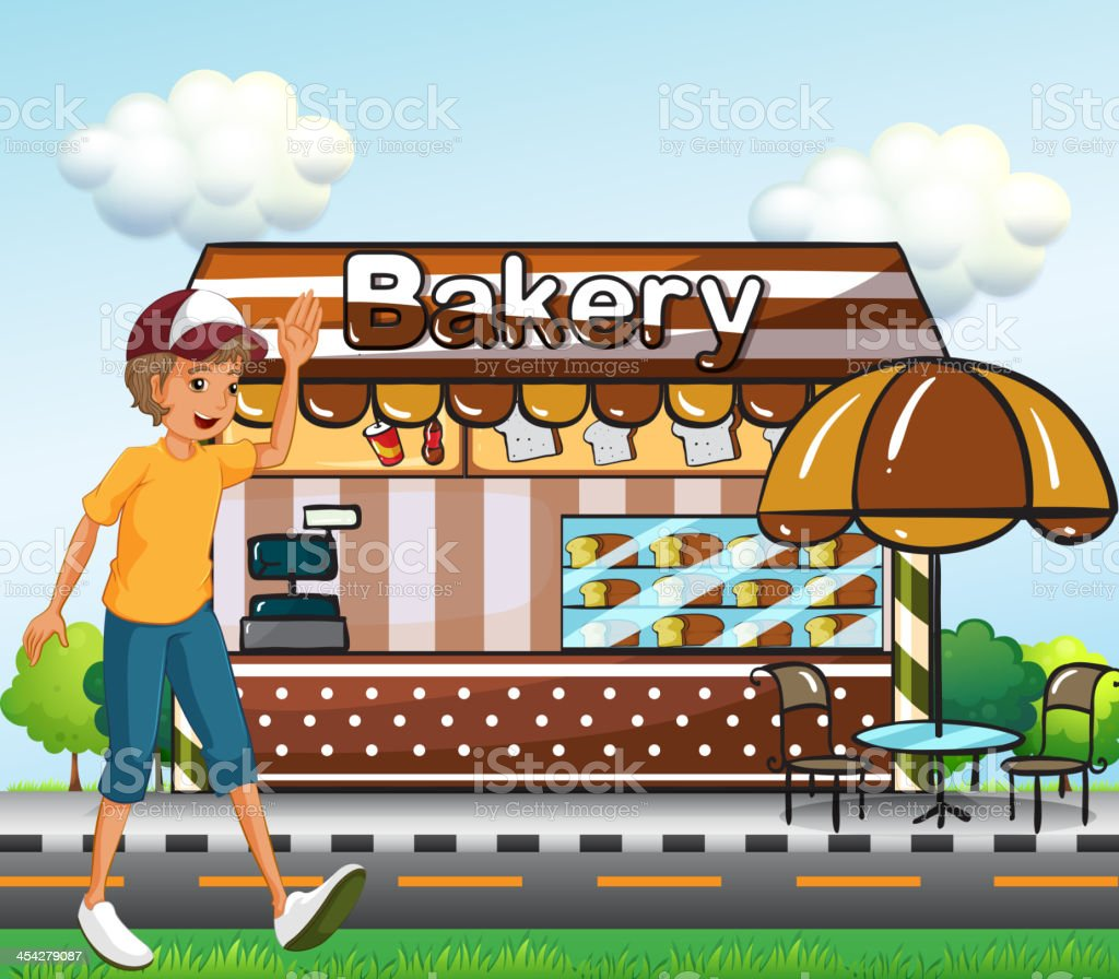 Boy walking across the bakery royalty-free boy walking across the bakery stock vector art & more images of adult