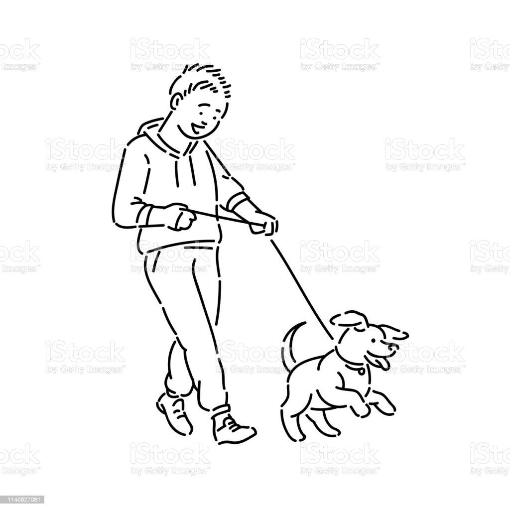 Boy Walking Dog Puppy On Leash Promenade With Pet Line Art