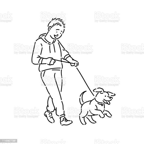 Boy walking dog puppy on leash promenade with pet line art style vector id1145627081?b=1&k=6&m=1145627081&s=612x612&h=uaizqopezb1tc264qv9wpic kc6r jf6sdmio9jy41e=