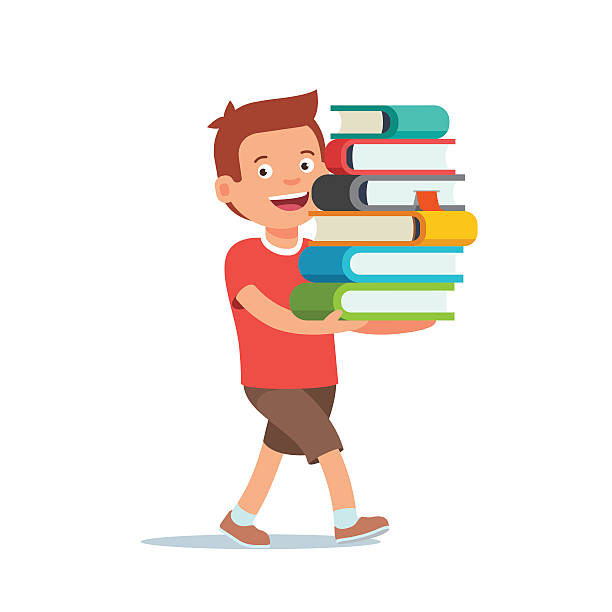 illustrazioni stock, clip art, cartoni animati e icone di tendenza di ragazzo cammina con grande pila di libri in mano - portare
