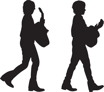 Boy Walking with Guitar Silhouettes