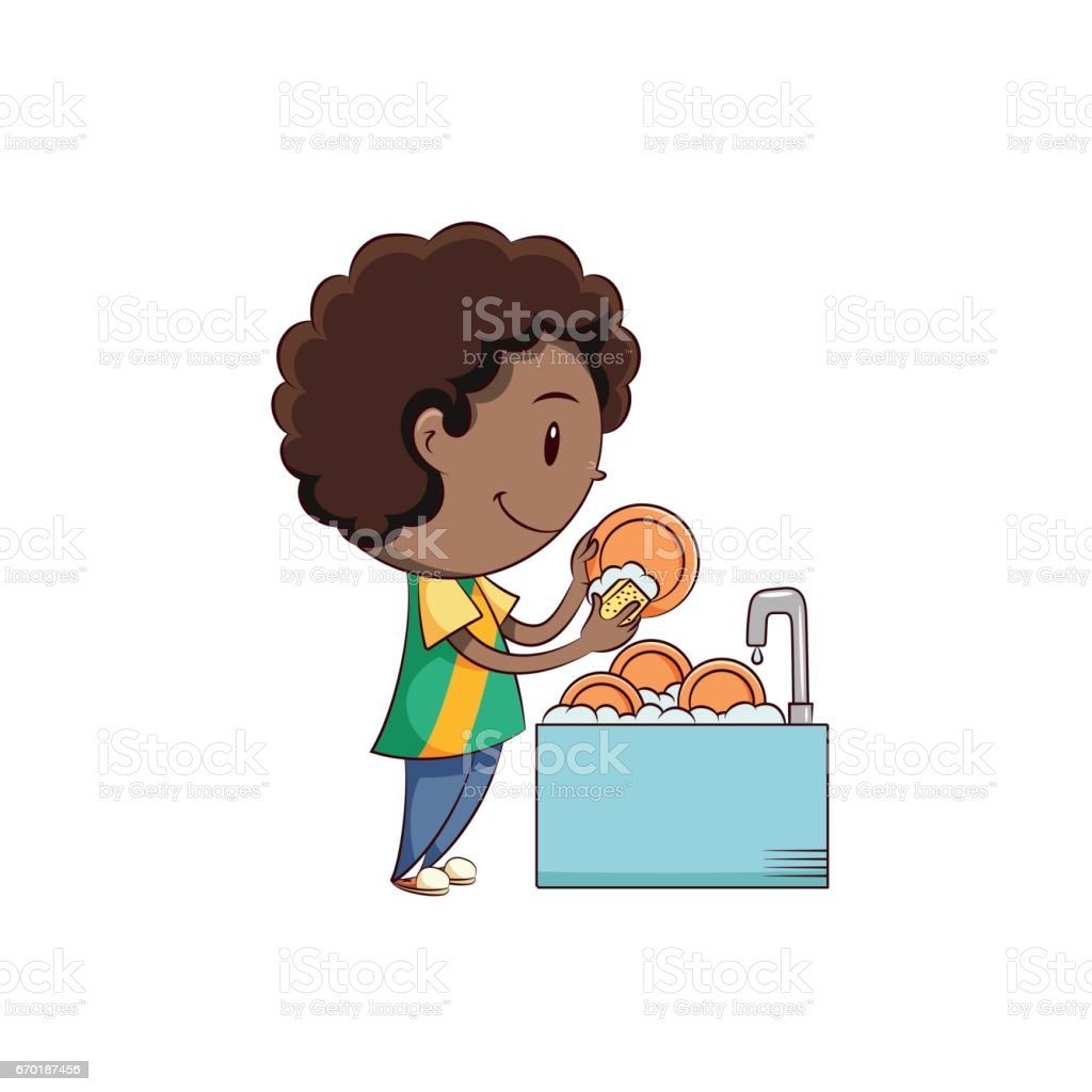 Boy washing dishes vector art illustration