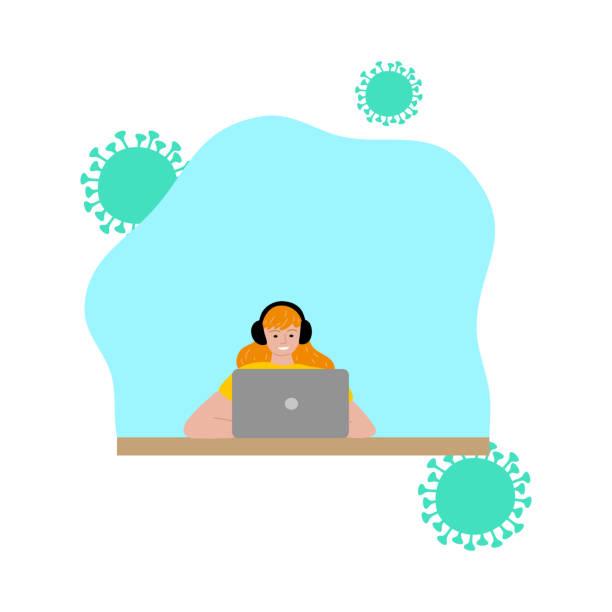 stockillustraties, clipart, cartoons en iconen met jongen die film van laptop let en thuis voor bescherming tegen coronavirusbesmetting blijft - avondklok