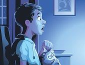 Boy Watching TV Late At Night