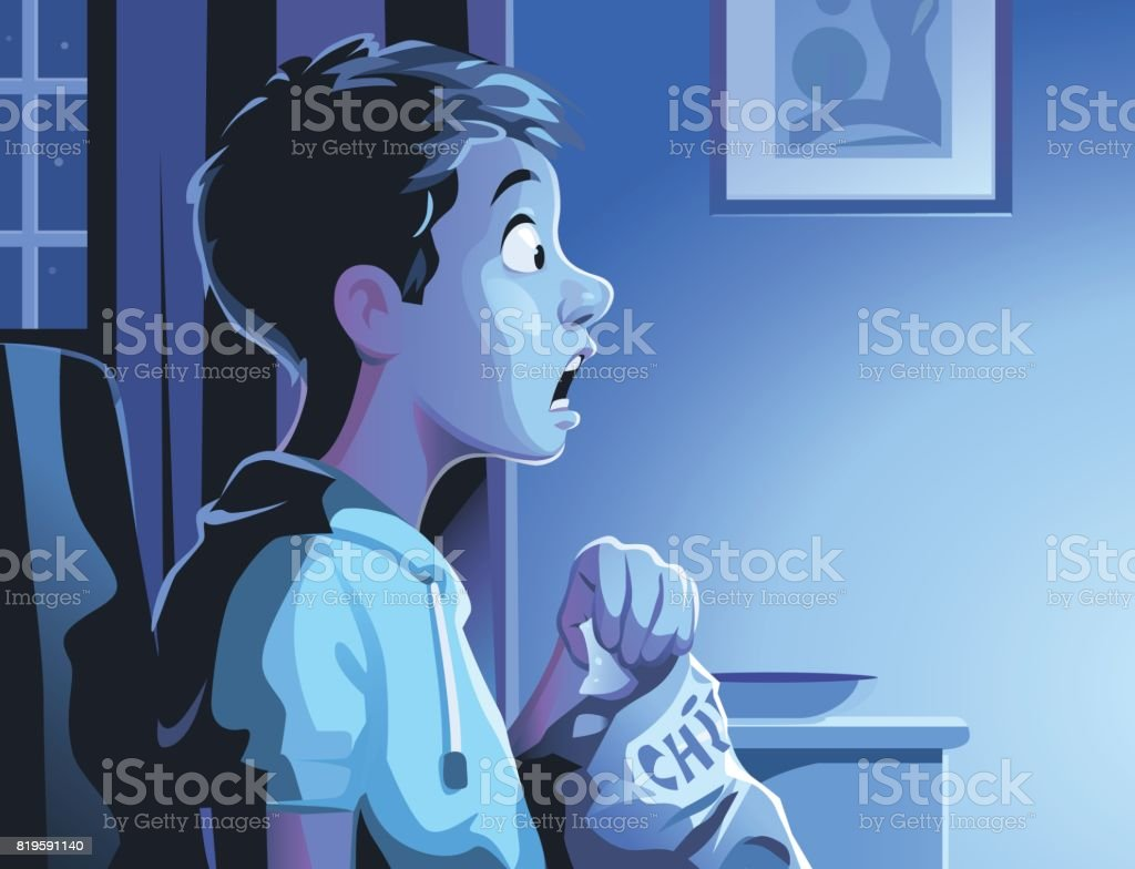 Boy Watching TV Late At Night vector art illustration