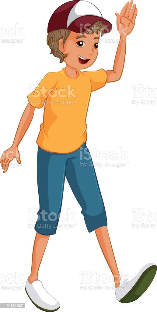 Boy waving his hands