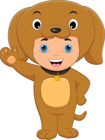 boy wearing bear costume waving