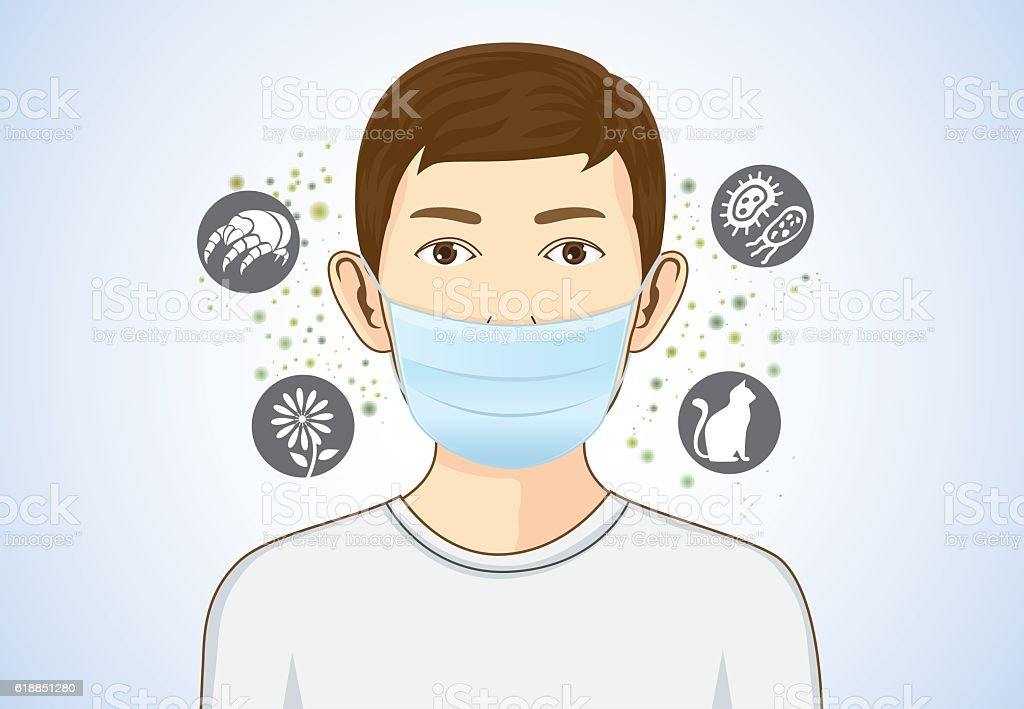 Boy wearing breath mask for protect allergic. – Vektorgrafik
