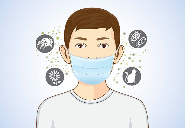 Boy wearing breath mask for protect allergic. vector art illustration