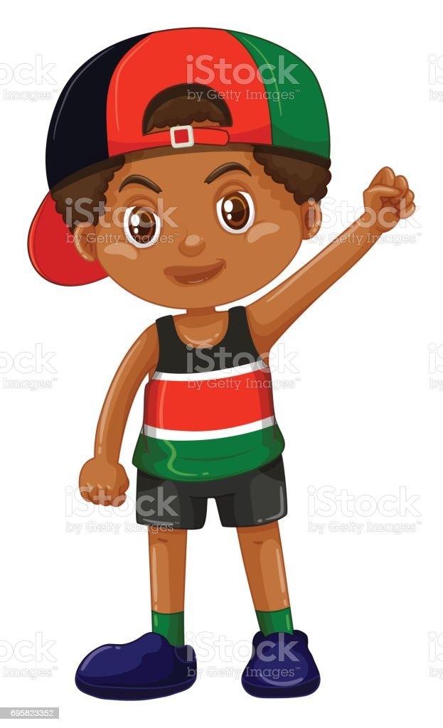 Boy wearing cap backward vector art illustration