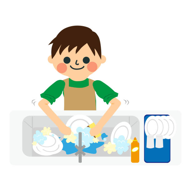 a boy who does housework. - busy restaurant kitchen stock illustrations