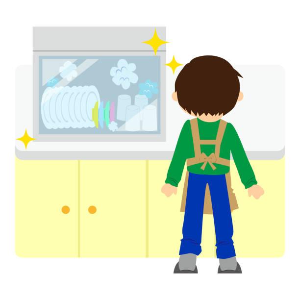 ilustraciones, imágenes clip art, dibujos animados e iconos de stock de un chico que hace las tareas domésticas. - busy restaurant kitchen