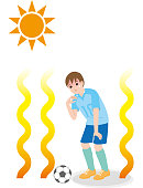 A boy who plays football in a hot weather, the danger of heat stroke.