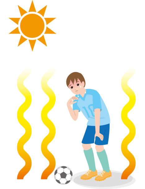 A boy who plays football in a hot weather, the danger of heat stroke. health care heat wave stock illustrations