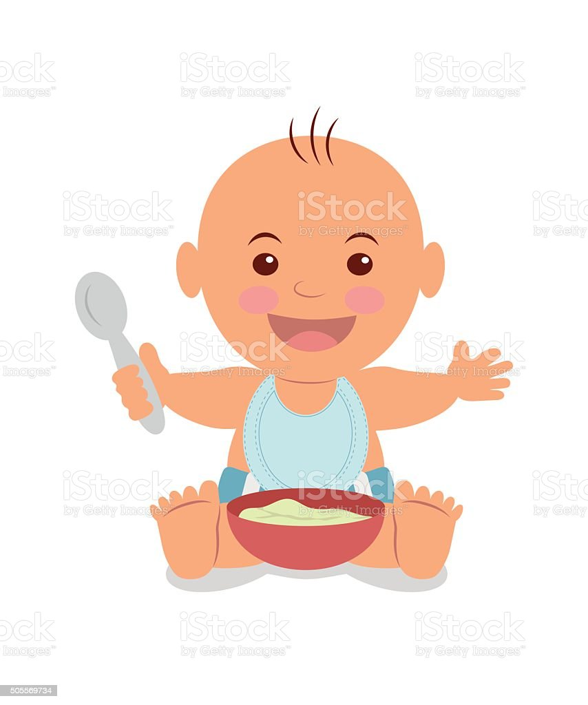 Boy with a bowl of porridge. vector art illustration